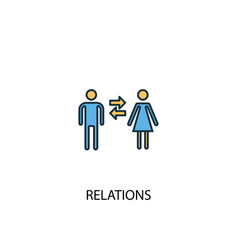 Relations concept 2 colored icon simple blue vector
