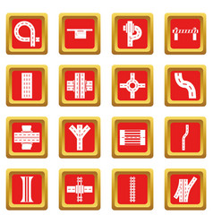 road parts constructor icons set red square vector image