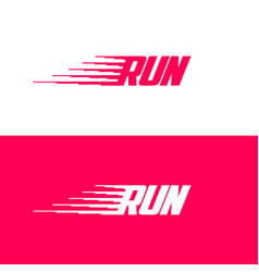 Run logo dynamic sport icon movement emblem vector