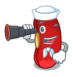 Sailor with binocular red bean in the cartoon cup vector