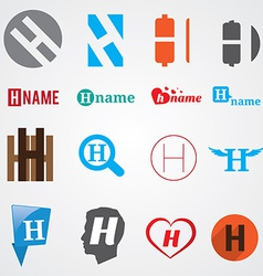 Set of alphabet symbols of letter H vector image