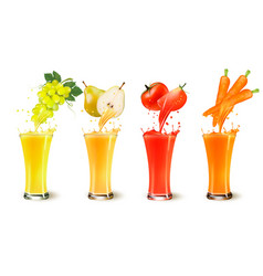 set of fruit juice splash in a glass grapes vector image