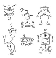 set of hand drawn cartoon robots vector image