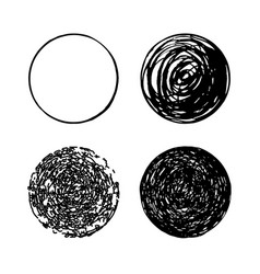 set of hand drawn scribble circles logo vector image