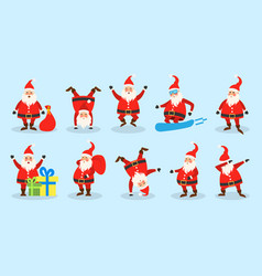 set santa clauses christmas funny happy vector image