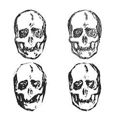 set skulls isolated on white background vector image
