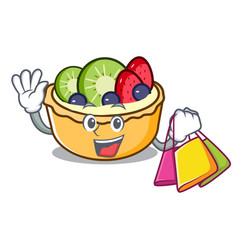 shopping fruit tart character cartoon vector image