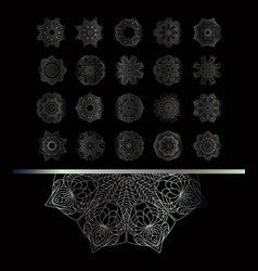 silver round ornament pattern on black background vector image