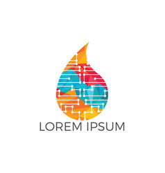 smart technology water logo design vector image