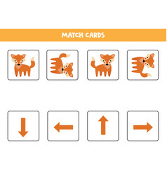 Spatial orientation for kids cute cartoon fox in vector
