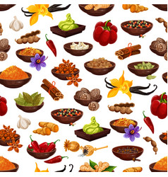 Spice food ingredient seamless pattern background vector