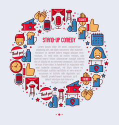 Stand up comedy show concept in circle vector