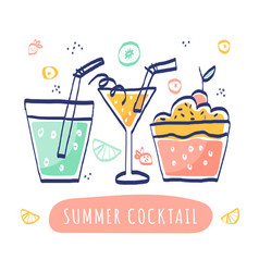 Summer cocktails on white background vector