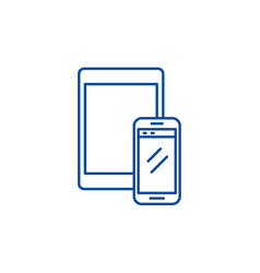 tablet and smartphone line icon concept tablet vector image