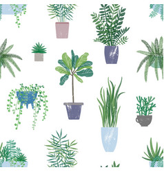 trendy houseplants seamless pattern potted vector image
