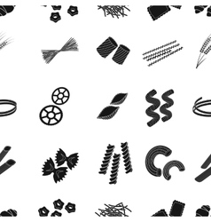 Types of pasta pattern icons in black style Big vector