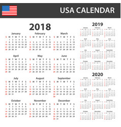 Usa calendar for 2018 2019 and 2020 scheduler vector