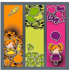 Vertical banners with sticker kawaii doodles vector