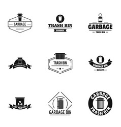Waste logo set simple style vector