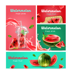 watermelon realistic banners set vector image