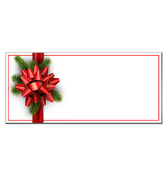 white christmas banner with red bow vector image