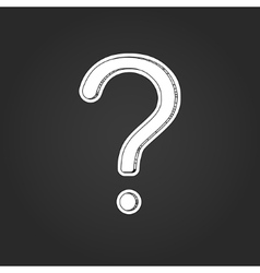 White question mark with shadow on black vector
