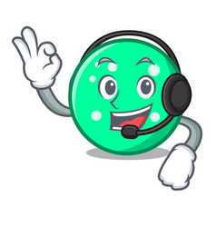 With headphone circle mascot cartoon style vector