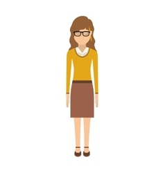 woman with wave hair and skirt vector image