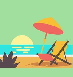 wooden beach chair on beach vector image