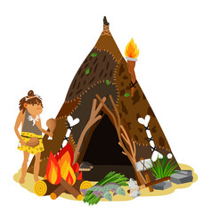 young ancient girl cooking at open fire cave vector image