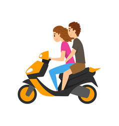 Young man and woman riding scooter couple in love vector
