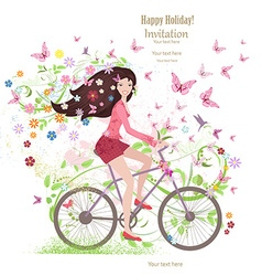 Cute young girl on a bike with butterflies and vector image