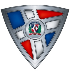 shield with flag dominican republic vector image vector image