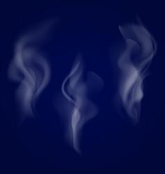 smoke set isolated on dark background vector image