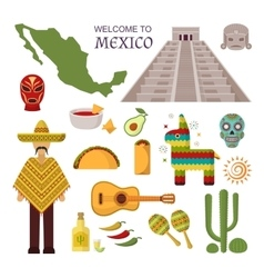 welcome to mexico set vector image