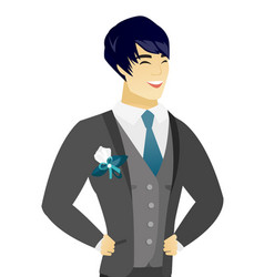 young asian groom laughing vector image