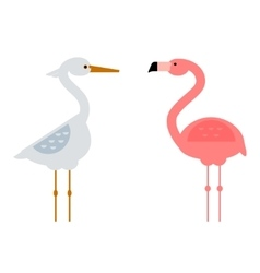 Cool stork and flamingo vector image vector image