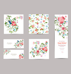 fine collection of greeting cards with fancy vector image