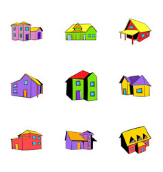 real estate icons set cartoon style vector image