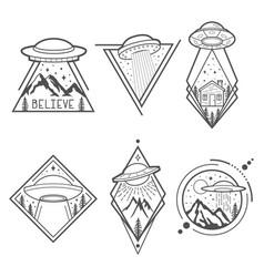 set of six ufo emblems labels badges or logos vector image vector image