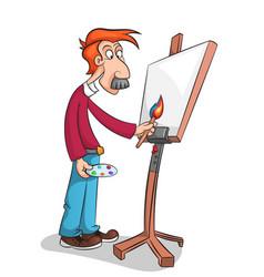 the mustachioed artist paints a portrait vector image vector image