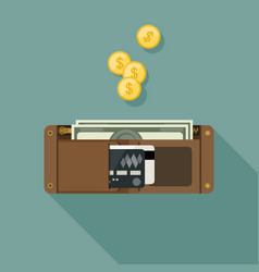 wallet with money vector image vector image