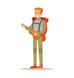 young smiling man traveler with backpack and vector image vector image