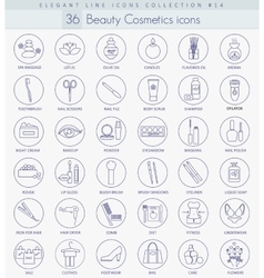 beauty and cosmetics outline icon set vector image vector image