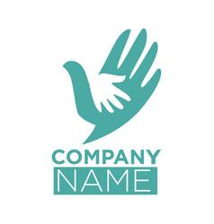 Dove bird symbol of hand in hands icon vector