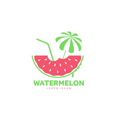 logo template with watermelon beach umbrella and vector image