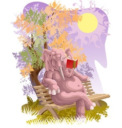 Reading elephant vector image vector image