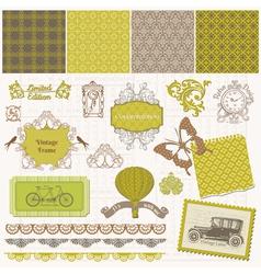 Scrapbook Design Elements - Vintage Time Set vector image vector image