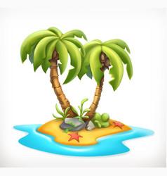 tropical island 3d icon vector image