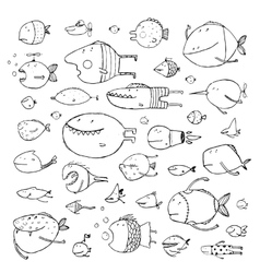 Cartoon Bizarre Fish Collection for Kids Hand vector image